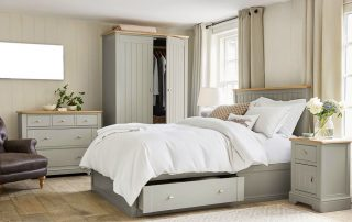 Bedroom with double-hung windows